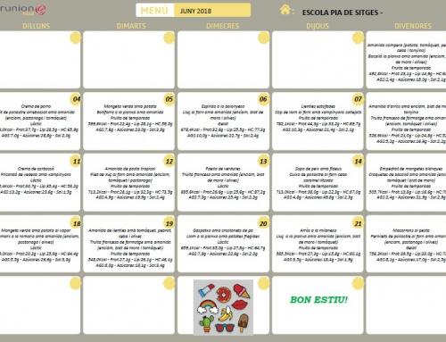 Servei de menjador: Menú de juny